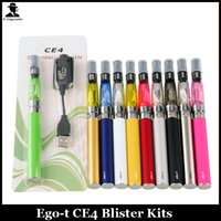 Wholesale Ego Ce4 Blister Card - Ego T Ce4 Starter Kit Colourful EGO-T Battery 650mah 900mah 1100mah 1.6ML CE4 Atomizer Blister Card Packing E-cig Kit