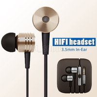 Wholesale Iphone Headphones Crystal - 2017 Xiaomi HIFI Headphone 3.5mm In-Ear Metal Noise Cancelling Headset Microphone Cell Phone Earphones With Crystal Box