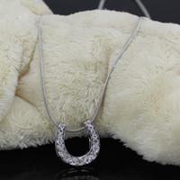 ingrosso nichel in lega di zinco libera-Piombo e nichel libero gioielli equestri fatti di lega di zinco con catena di serpente e ceco cristallo collana scarpa a ferro di cavallo