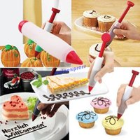 Wholesale Deco Cake Decorating - New Deco Pen Magic Cupcake Cookie Cake Decoration Pastry Cream Chocolate Decorating Writing Set Kit Tool Silicone Plate Paint Pen