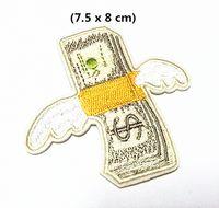 eisen-logo-patch großhandel-Großhandel ~ 10 Stück coole Patch weiß grau USD Geld Logo (7,5 x 8 cm) Punk Patch voll bestickte Applique Eisen auf Patch (ALG)