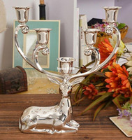 Wholesale Stainless Steel Candlesticks - Luxurious Spotted Deer Candle Holders Stainless Steel Candlestick Candelabra For Wedding