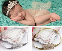 Wholesale Wholesale Boutique Bow Supplies - 2016 New Baby Luxury Shine diamond Crown Headbands girl Wedding Hair bands Children Hair Accessories Christmas boutique party supplies gift