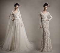 Wholesale Ersa Atelier Wedding Dresses - Ersa Atelier 2016 Full Lace Backless Wedding Dresses A-Line Beads V Neck Long Sleeves With Detachable Chapel Train Over Skirts Bridal Gowns