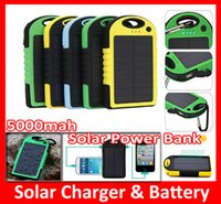 Wholesale portable mobile phone charger flashlight online – 5000mAh solar power bank Waterproof power banks Dual Ports portable Solar Charger and Battery With Flashlight for Cell phone Camera Mobile