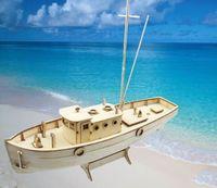 Wholesale Wooden Boat Model Kit - Wholesale-Wholesale 1:30 Laser-cut Wooden sailboat model kit NXOS Fishing boat Ship Model Toy&Gift Free Shipping 1set