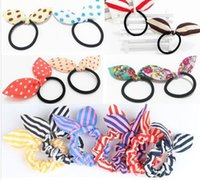 Wholesale Elastic Kids Tie - Korean Bunny children hair accessories Bowknot Kids Band Clips Tie Rope Cute Polka Dots Floral Stripe Elastic Band Girl Hair Band H017