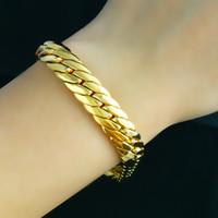bracelete de 18k gf venda por atacado-Varejos maciça 18k Gold Filled Cheio Pulseira 8.66
