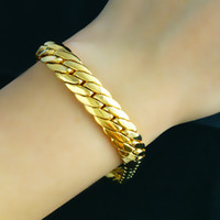 ingrosso braccialetto di 18k gf-vendite al dettaglio Massive 18k Yellow Filled Filled Braccialetto 8.66