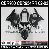 Wholesale Honda 954 Fairing Black - 8Gifts For HONDA 02-03 CBR954RR ALL Flat black 02 03 CBR900RR 954 954RR Y6744 CBR 900RR CBR954 RR Matte 2002 2003 Free Customized Fairing