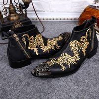 marcas de botas pontudas para homens venda por atacado-Itália Marca de Moda dos homens de Couro Genuíno Dragão Ankle Boots Bordados Mans Apontou Toe Sapatos Formais Vestido Plus Size 37-46