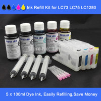 Wholesale Ink Cartridge Lc75 - Value Pak,500ml dye ink with full set of short type refillable inkjet cartridge for LC40 LC73 LC77,LC71 LC75 LC79,LC12 LC17 etc.