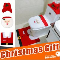 Wholesale Noel Christmas Ornament - Happy Santa Toilet Seat Cover Rug Tank & Tissue Box Cover Xmas Gift ornaments enfeites de natal papai noel for Bathroom Christmas Decoration
