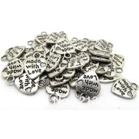"Wholesale Pendant Messages - 200pcs lots Tibetan Silver Message Love Heart Charms Pendants 13*10mm ""made with love"""