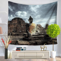 Wholesale decorative wall hanging art - 150 x130cm,200x150cm Watercolor Buddha Wall Decorative Hanging Tapestries Bedspread Ethnic Throw Art Floral Towel beach towel