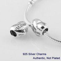 925 massives silbernes armbandherz großhandel-MUTTER'S HEART DIY-Perlen aus massivem 925er Silber nicht für Pandora BraceletCharms