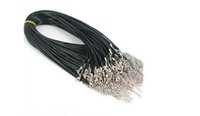 Wholesale 2mm Cord Lobster - 100pcs 2mm black PU leather cord metal lobster clasp necklace cord For DIY Craft Jewelry 18""