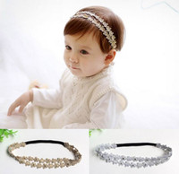 Wholesale Double Flower Baby Headbands - Baby Hair ornaments Gold Silver Flower Princess Double Row Headbands Girl Fashion Headwear 7097