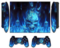 Protector de pegatinas Blue Fire Skin para Sony PS3 Super Slim PlayStation 3 Super Slim y 2 fundas de control