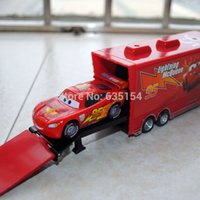 Wholesale Toy Cars Brands - Wholesale-Brand New 2pcs set 1 55 Scale Pixar Cars Toys #95 Racing Car And Mack Hauler Truck Diecast Metal Car Model Toy For Kids Gift