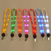 LED Light Up Lanyard Porte-clés ID Badge Carte Carte Collier Porte-clés Suspendus Corde expédition rapide