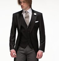 Wholesale Cheap Best Winter Suits - High Quality Slim Fit 2015 Groom Tailcoat Black Groomsmen Best Mens Wedding Prom Suits Cheap Custom Made (Jacket+Tie+Vest)