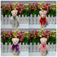 Wholesale Bear Bow Package - Wholesale 50PC Lot 12cm Plush Cute Teddy Bear Urso De Pelucia Oso Stuffed Animals For Flower bouquets package Dolls With Bow