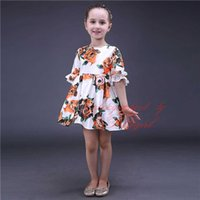 Wholesale Tutu Dresses For Low Prices - Pettigirl 2016 New Girls Flower Dresses With Lace Sleeve Printed Dress For Summer Children Wear Low Price