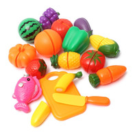 Wholesale Wood Pretend Food - Plastic Kitchen Food Fruit Vegetable Cutting Kids Pretend Play Educational Toy 16pcs Set