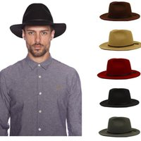 Wholesale black grey fedora hats - Wholesale-Fashion 100% Wool Summer Women's Men's Crushable Genuine Felt Fedora Bush Sun Hat Trilby Gorra Toca Sombrero with leather band