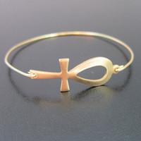 Wholesale Wholesale Ankh Charms - Gold Ankh Bangle Egyptian Bracelet Europe and the United States Hot Sale jewelry YPQ0103