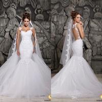 düğün olmayan düğün elbisesi düğmeleri toptan satış-2020 Berta Gelinlik Seksi Backless Dantel Sheer Tül Kapalı Düğme Spagetti Sapanlar Kış Gelin Mermaid BO4801 Ayrılabilir Tren