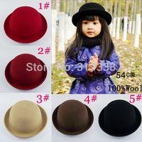 Wholesale Wool Felting - Retail Little girls fedora hat Dome cap Children dress hats Kids caps felt hats wool felting Bowler hat BH176