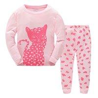 пижама милая оптовых-Симпатичные пижамы для детей хлопок пижамы ночное белье мультфильм кошки животные пижамы из двух частей набор 2017 новый Осень Зима