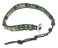 Wholesale Single Strand Leather Bracelet - Wrap Bracelets, single-strand, moss agate beads & leather cord, with stainless steel clasp, 9mm, 6mm,