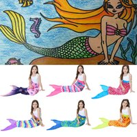 Wholesale Double Kids Sofa - 56*135cm Kids Mermaid Blanket Multicolor Christmas Mermaid Tail Blankets Sofa Quilt Rug Sleeping Sack double polar fleece blanket WX9-147