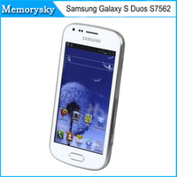 Remis à neuf Samsung Galaxy S Duos S7562 Téléphone cellulaire original 5MP caméra wifi GPS 3g android 4.0 dual sim single core 1G 4GB Smartphone 002875