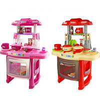 Wholesale Girls Play Kitchen - Wholesale- New Kids Kitchen Set Children Kitchen Toys Large Kitchen Cooking Simulation Model Colourful Play Educational Toy for Girl Baby