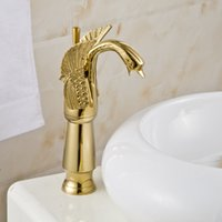 Wholesale Gold Swan Faucets - Single Handle Centerset Rose Gold Finish Swan Style Bathroom Sink Faucet Basin Mixer Solid Brass Material Heavy-duty Structure Lavatory