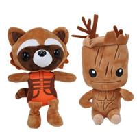 Wholesale Plush Raccoon Toy - 80pcs High Quality 22-25cm Guardians plush doll Tree people groot rocket raccoon plush toys Children's gift for Christmas 201506HX