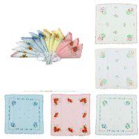 Wholesale Vintage Child Hanky - 12 pcs 100% Cotton Flower Print Vintage Women Handkerchiefs Quadrate Hankies