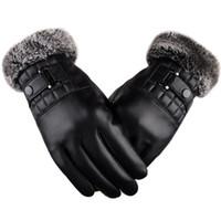 kışlık deri sürüş eldiven erkek toptan satış-Erkekler Kış Sıcak Deri Eldiven Motosiklet Sürüş Spor Kürk Eldiven Dokunmatik Yumuşak Kalın Polar Astar Açık Rüzgar Geçirmez