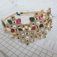 aretes de diamantes de imitación al por mayor-Marca de moda Multi Rhinestone Flor hairbands para las mujeres Joyería del pelo Perlas de oro de la declaración de la boda Accesorios para el cabello