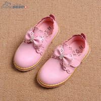 Wholesale Sweet Mary Janes - Wholesale-2015 girls leather shoes New Cute Sweet Red Baby girls Mary Janes Bow Shoes Princess Girls Soft Soled Bottom Anti-slip Shoes 3s