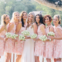 Wholesale Bridesmaid Overlay - Short Lace Bridesmaid Dresses Scoop Neckline Wedding Party Dresses with Sash 2017 Cheap White Overlay Lace Maid of Honor Dress Under 100