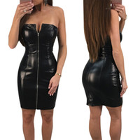 Wholesale Girls Sexy Hips - Women Lady Girls Sexy Zipper Package Hip Black Leather Tight Skirts Nightclub Party Dress Clothes 3622