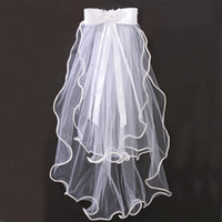 Wholesale Tulle Bow Veil - 2015 Lovely High Quality Flower Girls Veils Wedding Party Kids Tulle Veils Two Layers Short Bow Sash Handmade White Ivory Champagne Custom