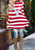 Wholesale Patchwork Dress Baby - New baby and mom dress girl dress Xmas Family look women kids pajamas children clothing stripe deer Christmas Family Fitted family clothing