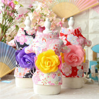 Wholesale Traditional Chinese Wedding Clothes - Traditional Chinese flowering crabapple kimono dog clothes for small dogs girl dog dresses Spring and summerdog apparel