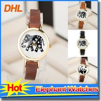 Wholesale Ladies Watches Small Dial - New Arrival Womens Elephant Pattern Watch Girl Casual 10 mm Small Dial Leather Watch Ladies Wristwatch